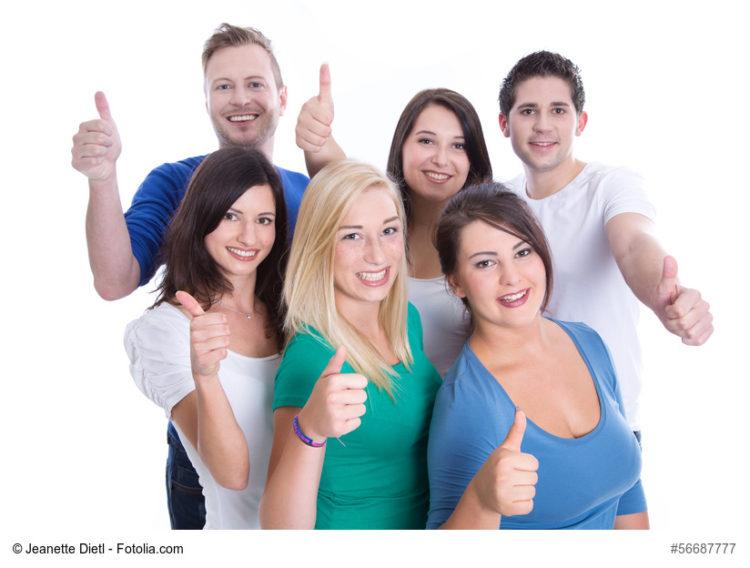 Gruppe junger Berufseinsteiger. vor dem Berufseinstieg