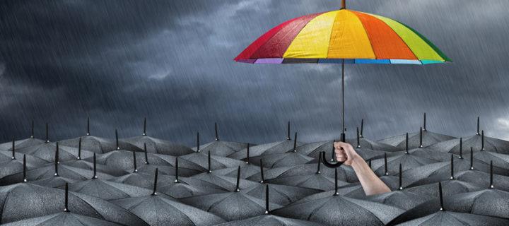 Bunter Regenschirm über grauschwarzer Regenschirm-Masse: Die Chancen für Quereinsteiger stehen aktuell in vielen Branchen sehr gut